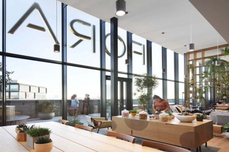 Incredible communal area within this flexible workspace building at Fora Great Eastern Street in Shoreditch. The space offers businesses an area to relax and read away from their private serviced office.
