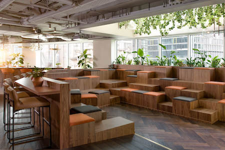 Uncommon's event space in Liverpool Street. Uncommon creates serviced offices that are supportive environments which helps office members live well, work well and do well.
