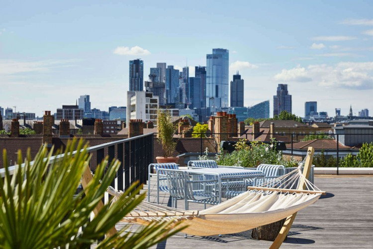 Beautifully designed roof terrace for office tenants operating from the Managed Workspace Rental in Haggerston.