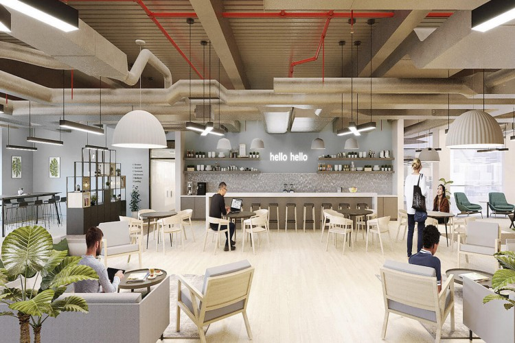 Knotel workspaces at Basinghall Street in the City of London offer collaborative work zones with ample breakout areas for businesses to use away from their private office.