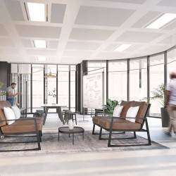 Beautiful contemporary breakout space at Fleet Place, Knotel workspaces. Strategically designed to empower teams and enhance productivity.