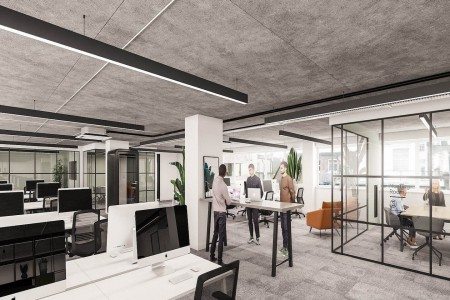 Fully managed office floor tailored to the clients needs including branding, furniture and IT. The building is managed by Knotel in Fitzrovia on Newman Street.