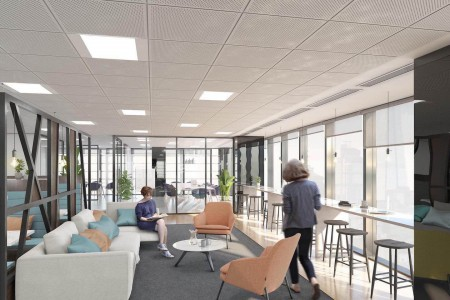 Breakout area for tenants to relax in and have informal discussions with their fellow employees within this landmark managed office in Fenchurch Street.