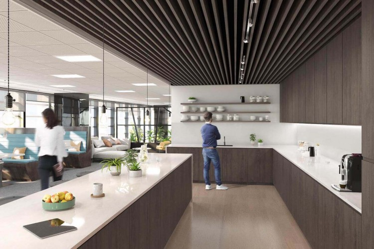 Dedicated kitchen and breakout space for businesses to use at the managed office in Fenchurch Street, landmark building in London.