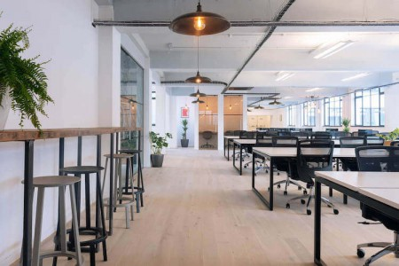 Flexible workspace operator Techspace offers a customisable self-contained office for rent in their Shoreditch South building for businesses who need privacy and flexible terms.
