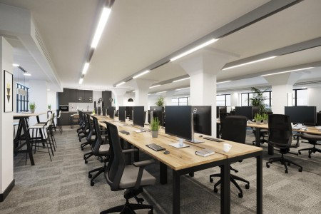 The clove building in South London provides self-contained flexible office space with integrated kitchen for medium to large businesses who require privacy.