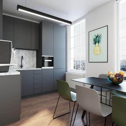 Fully fitted and stocked kitchen for the business occupying the managed office floor at Yours. by Work.Life – 66 Grosvenor Street.