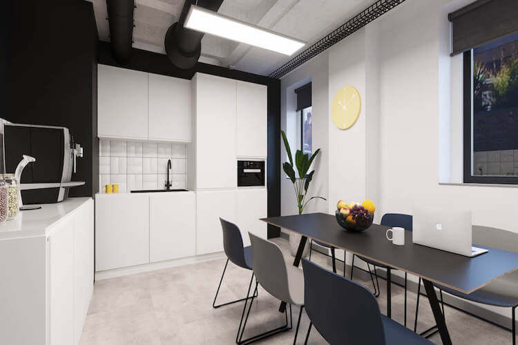 Dedicated kitchen and breakout space for businesses to use on the managed office space floors at Grays Inn Road, Kings Cross designed and delivered from Yours. by Work.Life.
