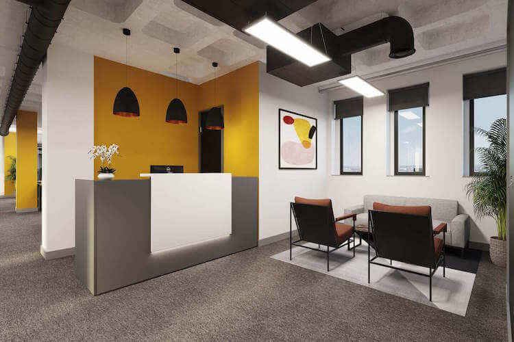 Dedicated reception and waiting area for businesses who rent one of the managed office space floors at Grays Inn Road, Kings Cross from Yours. by Work.Life.