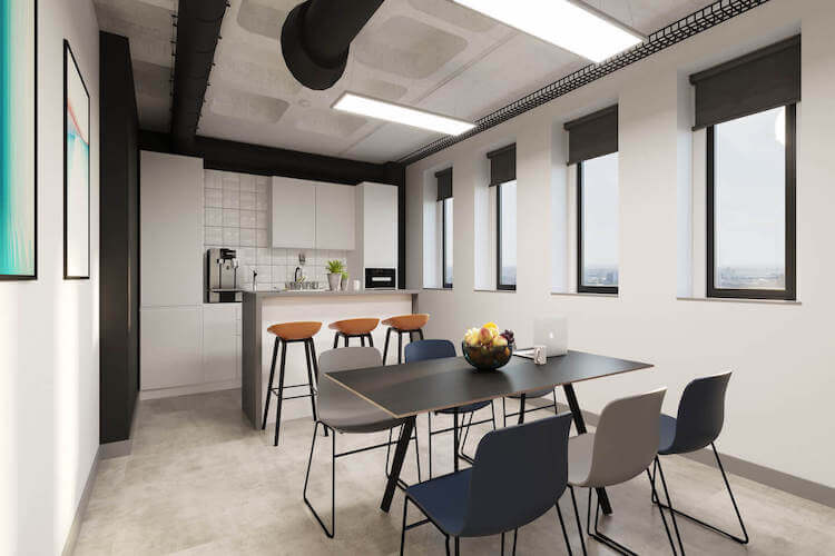 Dedicated tea-point area for office tenants to use at this self-contained managed office space in Grays Inn Road delivered by Yours. by Work.Life.