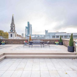 Stunning roof terrace at Marshalsea Road with views across London for business' to use outside of their office space at this Flexible Workspace in Borough.