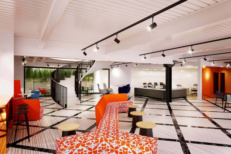 Open-plan reception and breakout space to create a warm and calm environment for business' who rent Office Space in Burford Road, London.