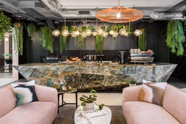 A green marble café bar for teams/businesses to use at this beautifully designed office space in New King's Rd, Fulham.