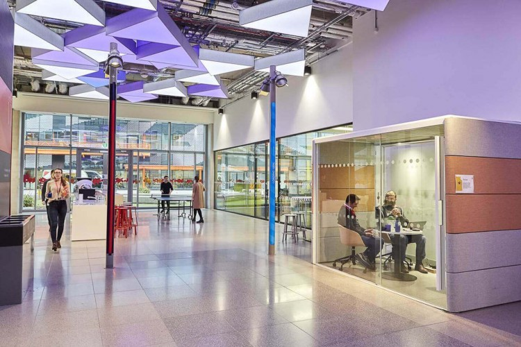 The building entrance to the office space in East Bay Lane, Stratford welcomes business' with an innovative space for tech companies to create and innovate.