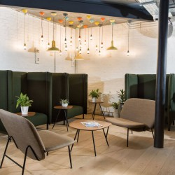 Flexible office space in Horsell Rd boasts ample collaborative workspace for companies to use for informal meetings or to get away from their private office space.