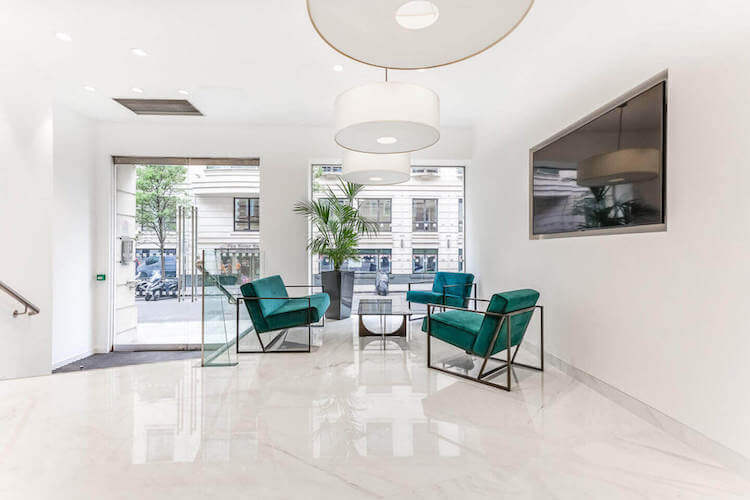 Seating area at 65 Curzon Street, Mayfair, offering SME's and corporates the opportunity to house their business in a prestigious serviced office building.