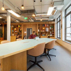 Coworking space at the contemporary Spaces Farringdon Road building.