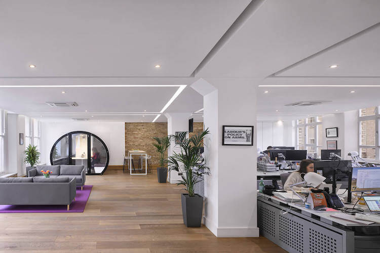 Self-contained managed office space at The Flat Iron Building, providing businesses the opportunity to customise their own workspace with phone booths, designer furniture and meeting rooms.