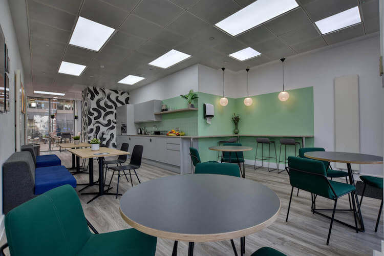 The kitchen and breakout space offered to clients at this office space in Marina Studios, Chelsea Harbour, London.