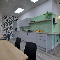 Kitchen and dining area for the tenants to use that are working from this serviced office space in Marina Studios, Chelsea Harbour.