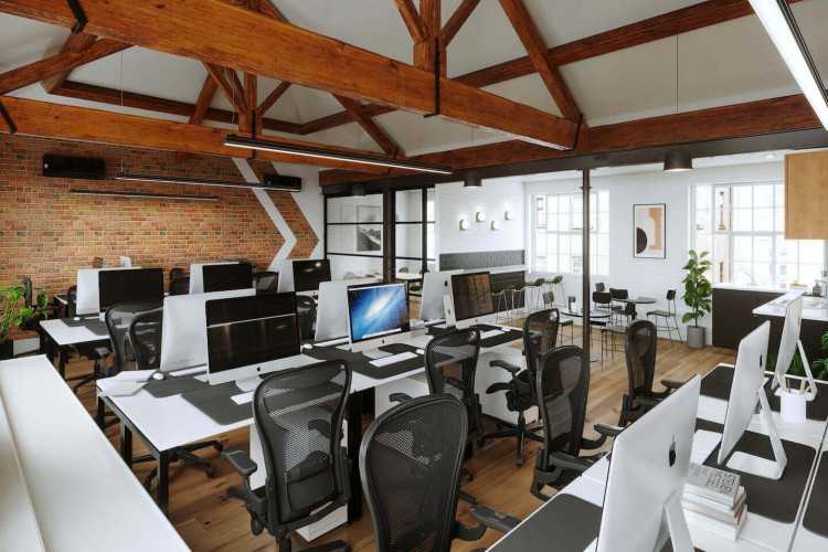 Albion Mills is a beautiful industrial warehouse property that is offering this top floor office space presents stunning views with raised ceilings that reveal the rooftop beams and wooden flooring.