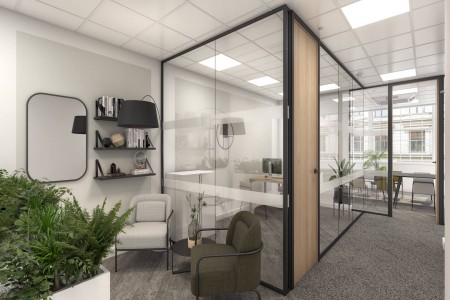 Self-contained managed office space at New Bond Street, providing businesses the opportunity to customise their own workspace with phone booths, designer furniture and meeting rooms.