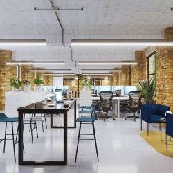 Fully furnished 1st floor managed office at Albion Works on Cowcross Street. Complete with high-spec furniture and and designer breakout sofa's.