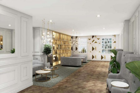 Stunning 5th floor lounge at the serviced office building on North Row, Mayfair. The space is for office tenants to use for informal meetings and to relax outside the office.