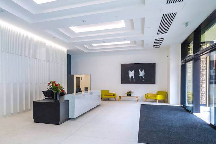 Reception desk at 64 North Row in Mayfair for businesses who are renting offices at this serviced office building.