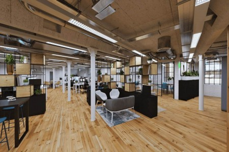 Customisable and fully branded open plan managed office in Clink Street, London Bridge for businesses who need desk space for 40-50 employees.