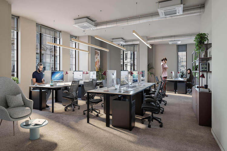 Liberty House is a flexible workplace in the West End of London that provides businesses with spacious private offices and break-out spaces.