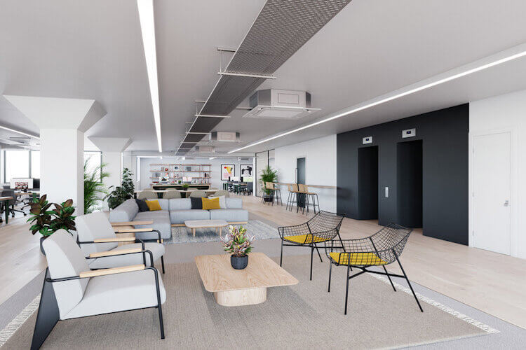 Building lounge of this Flexible Office Space in Bonhill Street, offering business' private office space, collaboration areas and private members club.