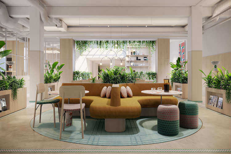 FORA Fitzrovia offers a dazzling flexible workspace building set over six floors with collaboration and breakout on the ground floor with soft furnishing and coffee bars for office tenants to use at this office space in Wells Mews in Fitzrovia..