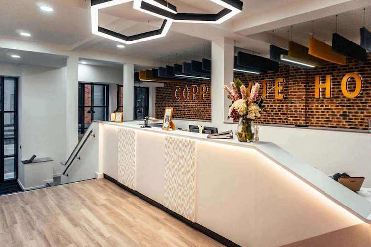Serviced Office reception at Coppergate House Spitalfields offering a personal and friendly service to clients renting office space at this flexible workspace building.